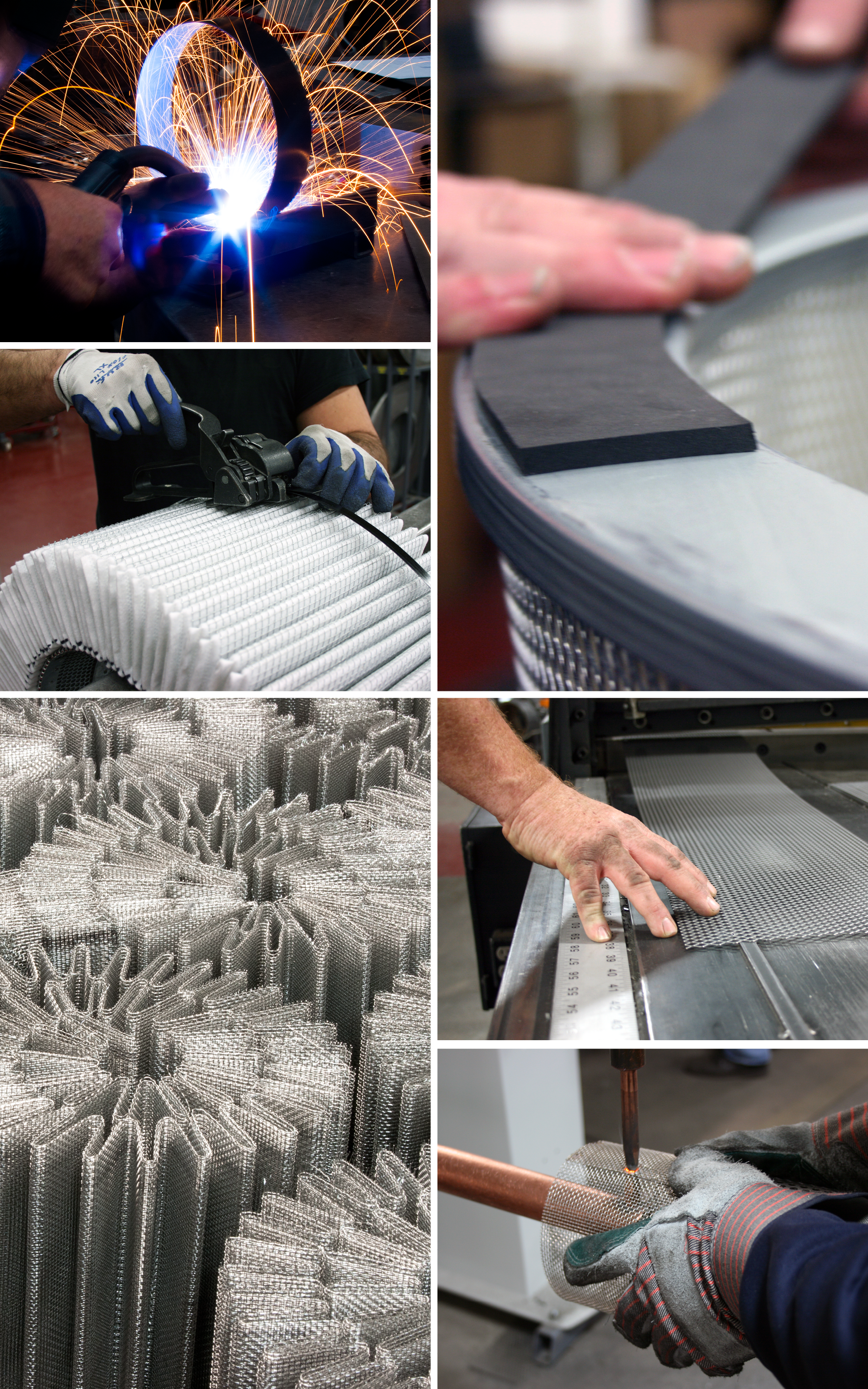 Industrial filter manufacturing processes and product assembly photos at Sidco Filter Corporation.